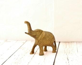 Vintage Brass Elephant, Brass Elephant Figurine, Brass Elephant Statue, Small Brass Elephant, Vintage Brass Decor, Little Brass Elephant
