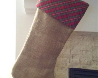 Burlap Christmas Stockings, Red Plaid Cuff - Fully Lined