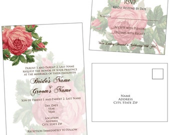Customizable Vintage Flowers Wedding Invitation & RSVP Post Card - Digital File Only