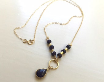 Sapphire Necklace - Navy Blue Jewelry - September Birthstone - Gemstone Jewellery - Gold Chain - Pendant - Luxe