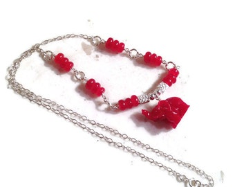 Elephant Necklace - Red Jade Gemstone Jewellery - Sterling Silver Jewelry - University of Alabama Jewellery - Roll Tide