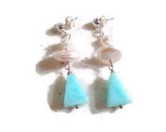 Blue Opal Earrings - Pearl Jewelry - Sterling Silver Jewellery - Dangle - Triangle - Fashion - Gemstone