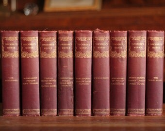 Vintage book set,Thackery, burgundy books, instant book collection