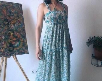 Vintage Floral Spaghetti Strap Long Dress S M