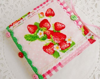 SALE Cottage Chic Strawberry Themed Needlebook