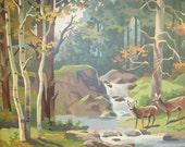 Pair Large Vintage Framed Paint by Number Deer Forest Woodland Nature-Modern Cottage Cabin Nursery Boys Room