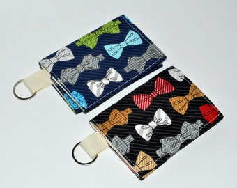 Bowties Business Card Case - Fabric Keychain Wallet - Gift Card Sleeve - Business Card Holder  - Gift for Her - Gift for Him