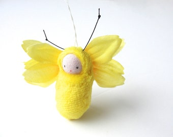 Lemon yellow flower fairy ornament miniature  doll fairie waldorf