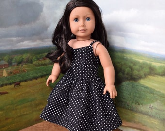 Black and White Polka Dot Wrap Dress for Lea or 18 inch Doll