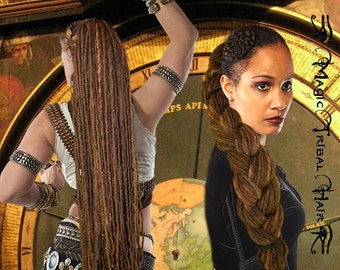 DREADLOCKS CHESTNUT brown DREADS yarn dread falls 112 dreadlocks 24''/ 60 cm Medieval Renaissance Larp wig Fairy gypsy wicca Viking costume