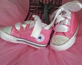 Pink Converse, Baby Girls, Bling Shoes, Matching Tutu, AB Crystals, Satin Laces, White Ties, Fast Shipping