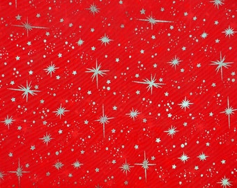 Star sparkle Bursts Sheer Organza RED 25 yards 58 Inch Wide Fabric
