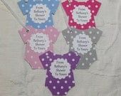 Set of 12 Personalized Polka Dot Bodysuit Tags - From My Shower To Yours - Baby Shower - Favor Gift Tags