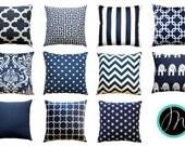 Navy Toss Pillows, Navy Euro Sham, Blue Large Size Pillow Cover, Zippered Pillow, Navy Cushion Cover, Nautical Decor, Couch Throw Pillows