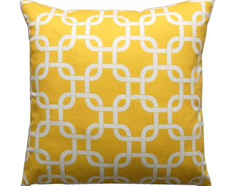 Decorative Pillow, Corn Yellow Gotcha Pillow Cover, Yellow Cushion Cover, Zippered Pillow, Yellow Pillow Sham, Chainlink Pillow, Trellis