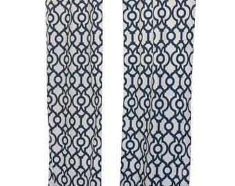 SALE Modern Curtains- Pair of Drapery Panels- Lyon Curtains- 25W or 50W x 63 84 96 108 120 inch Backdrop Drapes- Navy Lattice Window Treatme