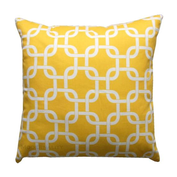 Decorative Pillow, Corn Yellow Gotcha Pillow Cover, Yellow Cushion Cover, Zippered Pillow, Yellow Pillow Sham, Chainlink Pillow, Trellis