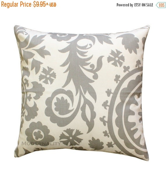 SALE Decorative Throw Pillows, Storm Grey Suzani Pillow Cover, Gray Pillow Case, Zippered Pillow, Bed Pillows, Couch Pillows, Gray Home Deco