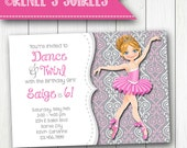 DANCER Party Invitation - Personalized BALLET Birthday Invite - Print Yourself or Print & Ship