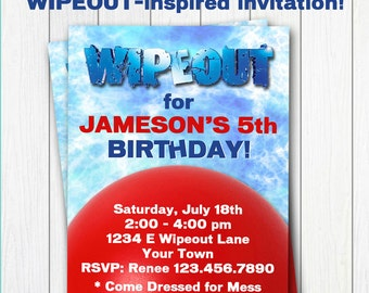 WIPEOUT Printable Birthday INVITATION - Customized - DIY