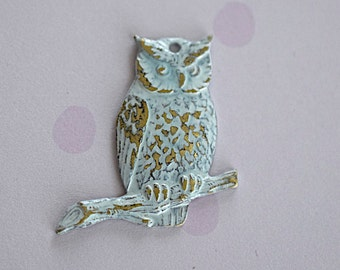 White Patina Brass Owl On Branch Charm -23mm - Jewelry Supplies - 1 Piece