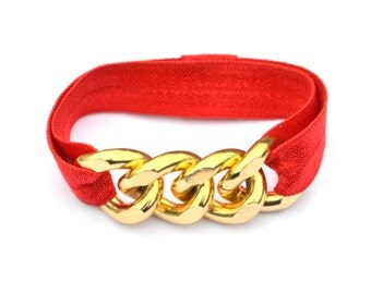 Gold Chunky Chain Red Elastic Hair Tie Bracelet Combo Stretch Elastic - Gold Curb Chain Arm Candy - Hair Accessories