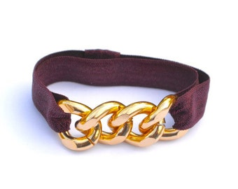 Burgundy Elastic and Chunky Gold Chain Bracelet Hair tie Combo - Fall Colors - FSU Florida State University Colors