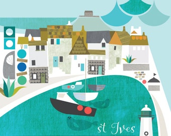 St Ives harbour - Giclée digital print (image 280mm x 280 mm)