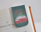 Magnetic Bookmark, Laminated Magnetic Bookmark, Happy Camper, Travel, RV Life, Airstream Style, Camping Bookmark, Summer, Retro Pink Blue