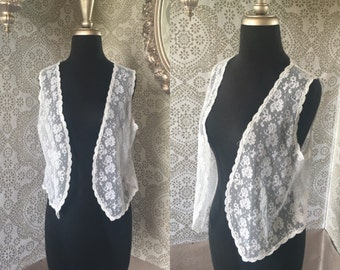 Vintage 1970's White Lace Open Front Vest Medium