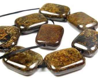 BARGAIN - Bronzite Rectangle Bead  - 16mm x 12mm x 5mm - 8 beads - B3820