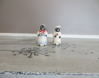 Black Americana Mammy and Pappy Salt and Pepper Shakers Vintage Shakers Maid and Chef Shakers Black Mammy Americana Mammy Collectibles