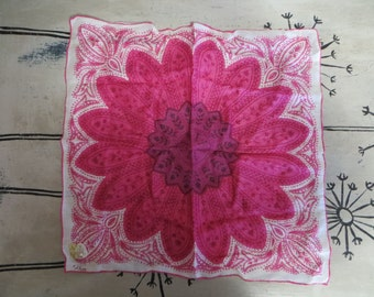Vintage Handkerchief Wedding Handkerchief Vintage Hankie Collette Magenta Handkerchief Hand Printed Large Flower Purple Pink Hand Rolled