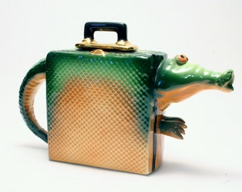 John Groth Post Modern Alligator Bag Teapot -- 1990's Studio Art Pottery - Scarce Form in Perfect Condition