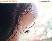 VALENTINES DAY SALE Blue Crystal Geometric Gold Hoops