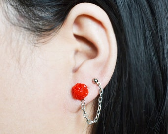 Red Rose Double Pierce Lobe to Cartilage Earrings (Pair)