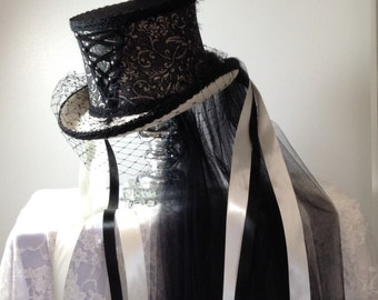 Gothic Victorian  corset ivory & black lace wedding top hat