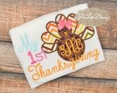 First Thanksgiving - Thanksgiving shirt - Girl Thanksgiving shirt - 1st Thanksgiving - Turkey Applique - Thanksgiving