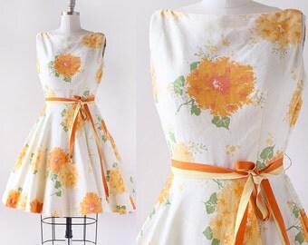 1950s Orange Floral Dress / Jerry Gilden Cotton Dress / 1950s Cotton Flower Print Dress / Small 26 Waist