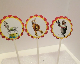 Madagascar Cupcake Toppers/Happy Birthday/Party Supplies/Party Decorations