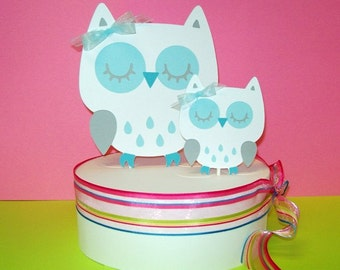 Owl Cake Topper/ Momma & Baby/ Baby Shower/ Happy Birthday/White with Blue
