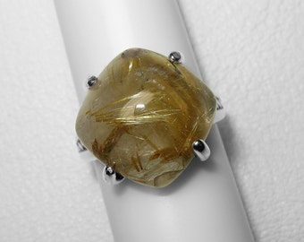 Golden Rutilated Quartz Ring in Silver, 15 x 15 mm