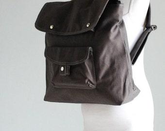 Halloween SALE - 30% BAGGO Unisex Backpack in Grey / Diaper Bag / Satchel / Rucksack / School / Messenger Bag/Diaper Bag/ School Bag/ Women
