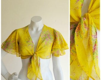 Yellow Floral Semi-Sheer Tiered Flutter Sleeve Tie-Up Crop Top