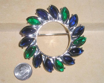 Vintage Unsigned Jomaz Green Blue Glass Invisibility Sunburst Brooch Rhodium Plated 1950s Jewelry 2135