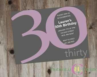 Milestone Birthday Party Invitation. Personalized Birthday Invite. 30th Birthday Invite. 50th Birthday Invite. Custom Birthday Invite. 40th.