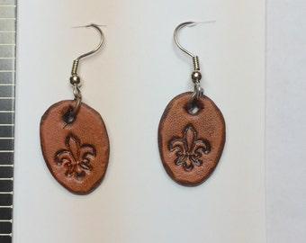 Leather Fleur De Lis Dangle Earrings
