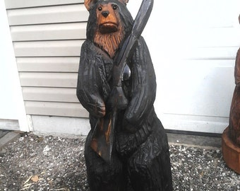 Chainsaw Carved Bear with Shotgun