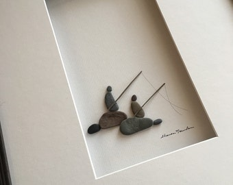 Fishing pebble art of ns by sharon nowlan