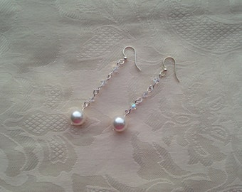 Earrings Swarovski AB Crystal White Pearl Dangle Earrings Sterling Silver Fish Hook